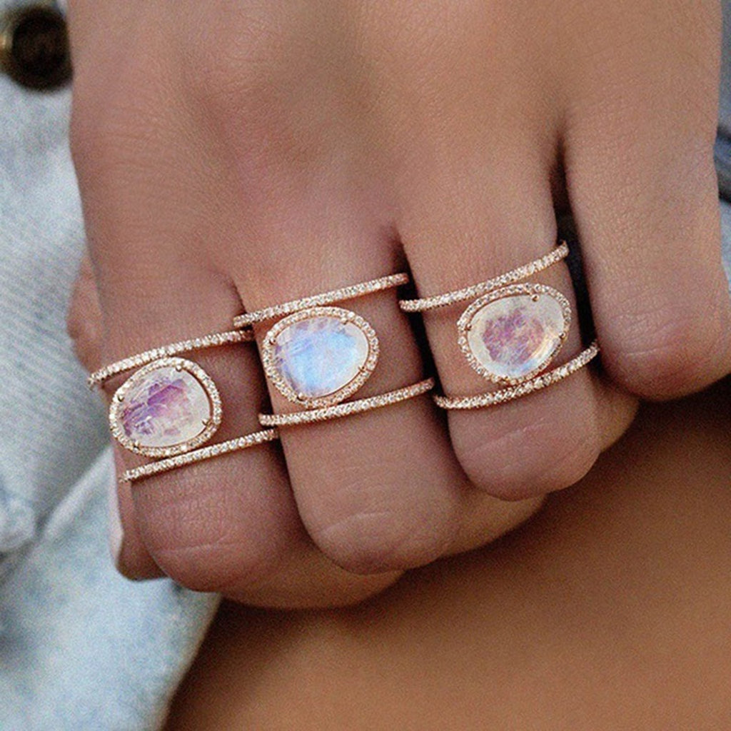 Boho Opal Gemstone Ring Moonstone Unique Gypsy Hippie Bohemian Rings Fashion Jewelry for Women for Teens Girls anillo de ópalo único (www.Jewolite.com)