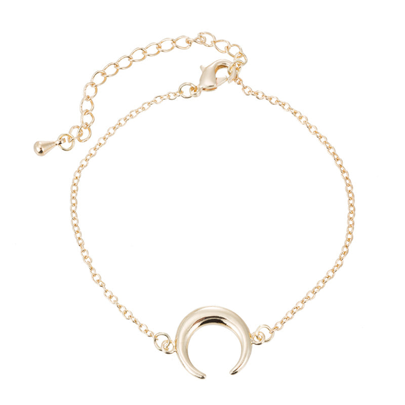 Cute Trendy Bracelet Simple Minimalist Moon Chain Bracelet in Gold, Silver for Women for Teen Girls (www.Jewolite.com) #bracelets