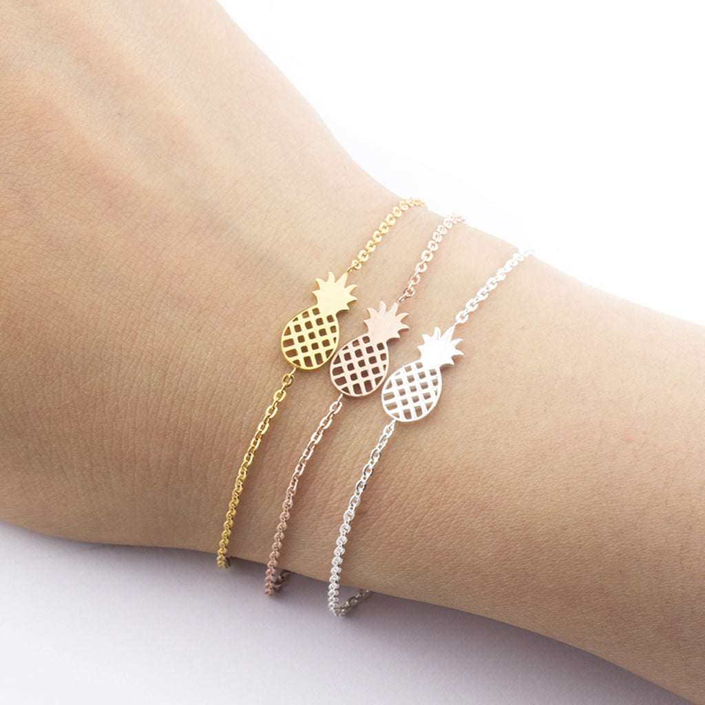 Simple Minimalist Pineapple Chain Bracelet in Gold, Silver or Rose Gold for Women for Teen Girls (www.Jewolite.com) #bracelets
