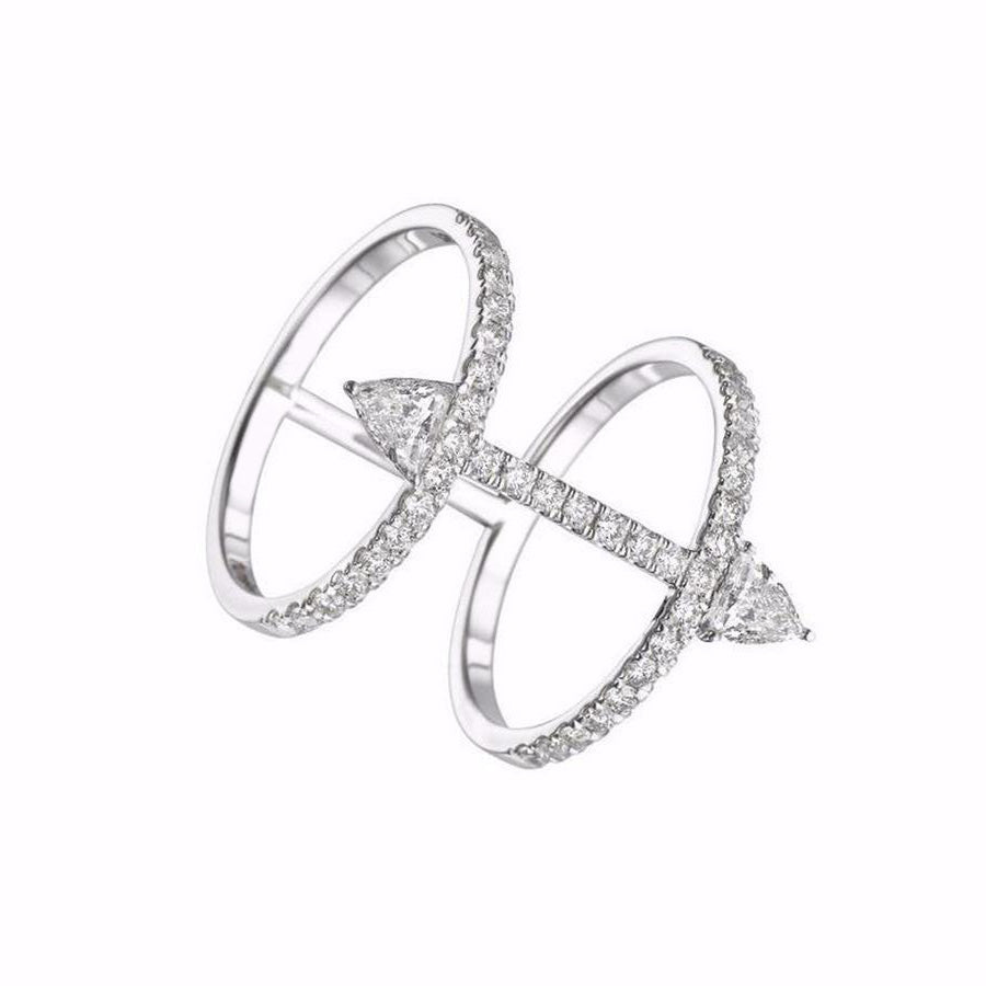 Cool Cute Unique Double Arrow Silver Rings Statement Fashion Jewelry for Women for Teens Girls anillos únicos de plata con flecha (www.jewolite.com)