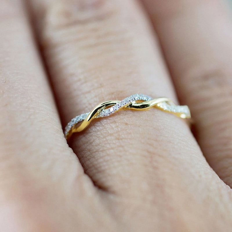 Cute Gold Minimalist Dainty Silver Twist Ring with Crystals Promise Wedding Graduation Birthday Gift - www.Jewolite.com