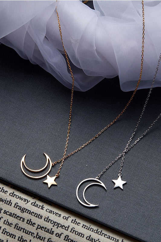 Cute Gold Simple Minimalist Moon & Star Charm Lariat Necklace Fashion Jewelry for Women -  lindos collares de luna y estrella - www.Jewolite.com