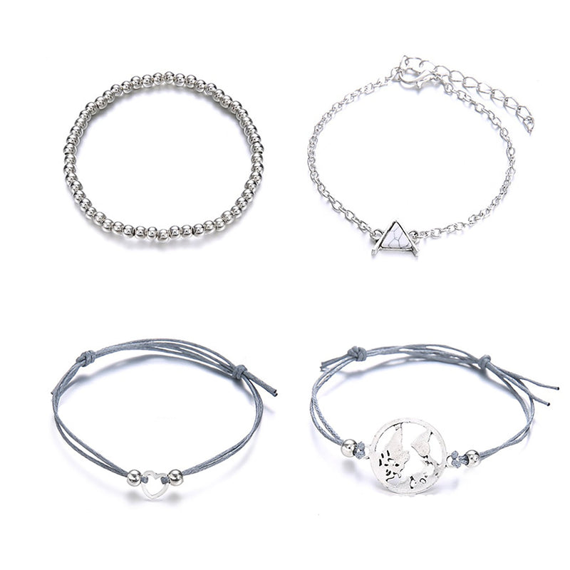 Cute Marble Beaded Simple Heart Silver Chain Bracelet Set Fashion Jewelry for Women for Teens Girls - www.Jewolite.com