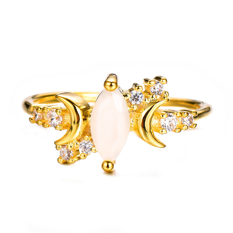 Cute Dainty Opal Crystal Moon Trending Ring Statement Fashion Jewelry for Women - www.Jewolite.com #rings