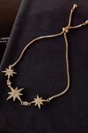 cute Triple Starburst Gold Adjustable Sliding Chain Bracelet for Women - www.Jewolite.com #bracelet Edit alt text