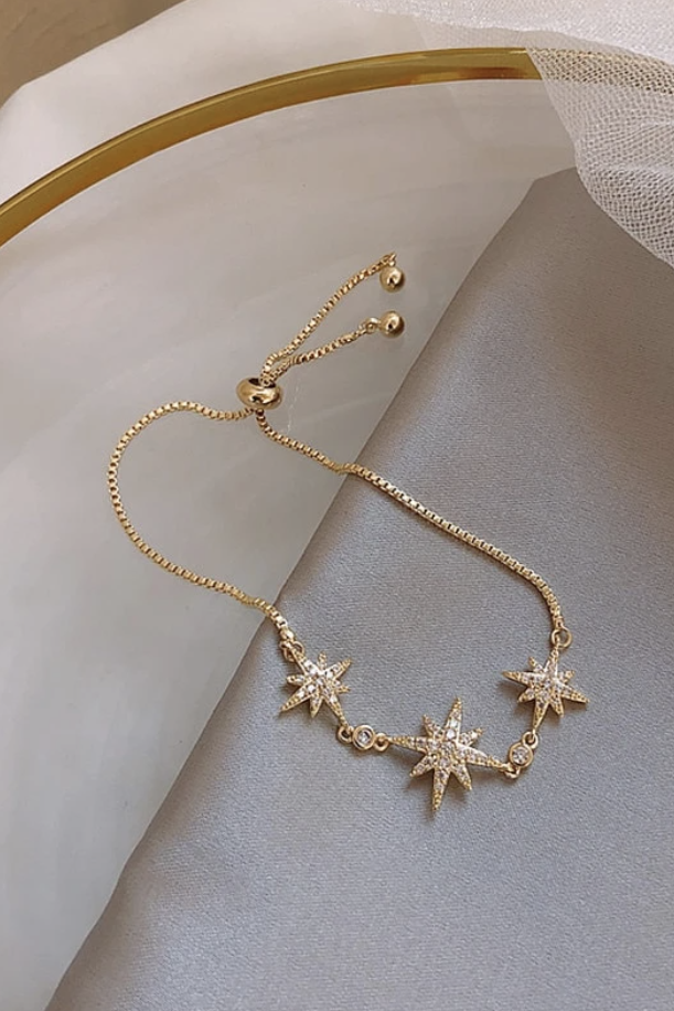 Cute Triple Starburst Gold Adjustable Sliding Chain Bracelet for Women - www.Jewolite.com #bracelet