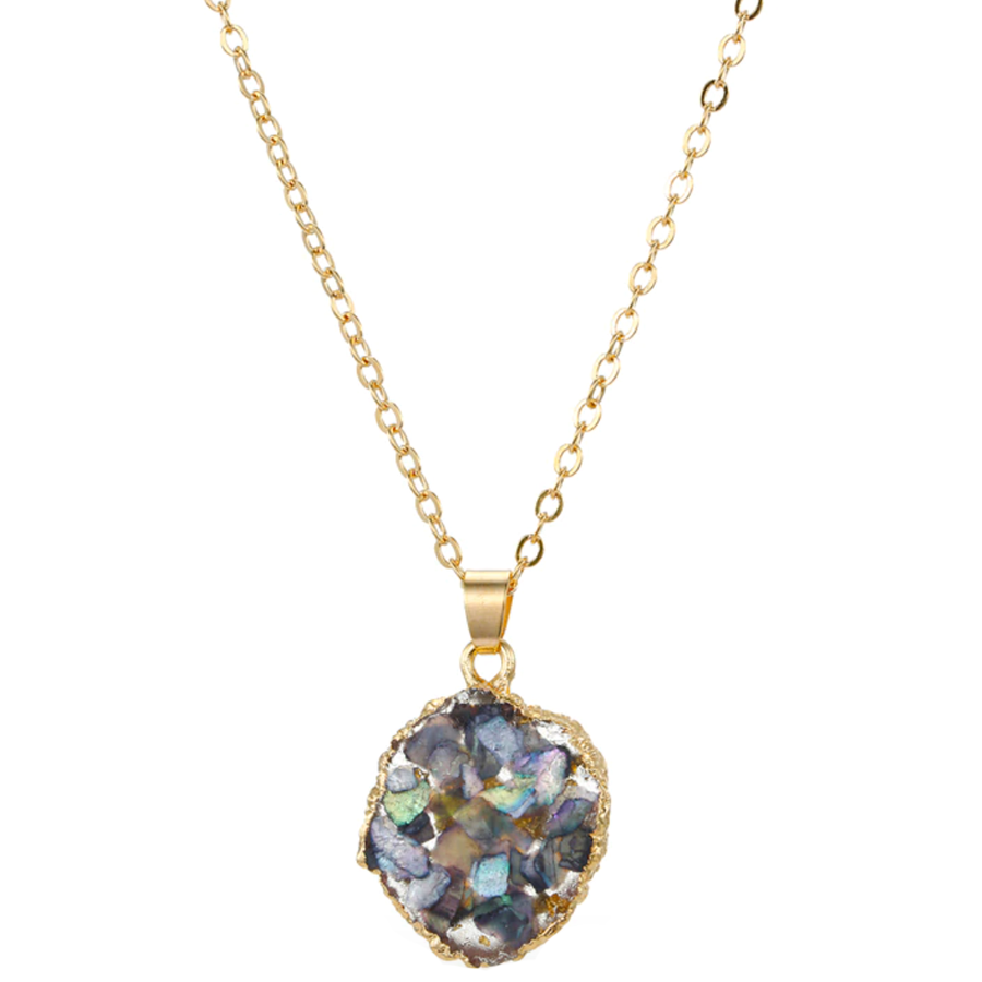 Beautiful Druzy Gold Chain Pendant Choker Necklace for Women - www.Jewolite.com Edit alt text