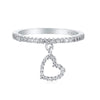 Angela Crystal Pave Heart Dangle Eternity Ring