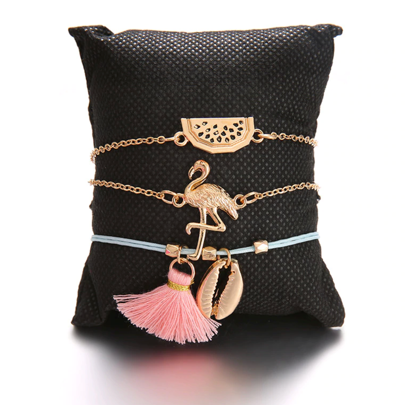 Cute Gold Chain Flamingo Watermelon Seashell Blue Bracelet Fashion Jewelry Set - www.Jewolite.com