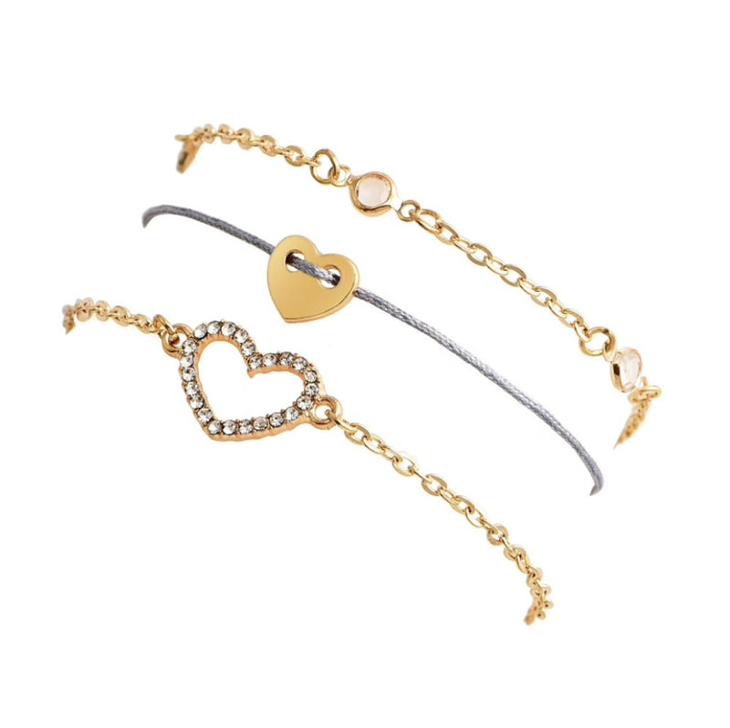 Callie Minimal Dainty Heart Crystal Gold Chain Bracelet 3 Pieces