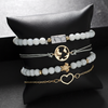 Cute Marble Beaded Simple Heart Rose Gold Chain Bracelet Set Fashion Jewelry for Women for Teens Girls - www.Jewolite.com
