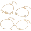 Nicole Map Marble Triangle Silver Chain Thread Bracelet Set 4 Pieces