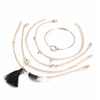 Cute Bangle Black Tassle Crystal Gold Chain Bracelet Set Fashion Jewelry for Women for Teens Girls - www.Jewolite.com
