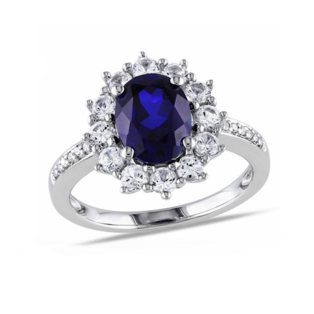 Beautiful Blue Sapphire Gemstone Halo Ring Engagement Wedding Promise Gift for Women - www.Jewolite.com #rings