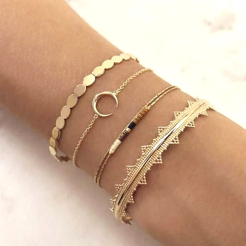 Cute Trendy Stackable Bracelet Simple Minimalist Moon Chain Bracelet in Gold, Silver for Women for Teen Girls (www.Jewolite.com) #bracelets