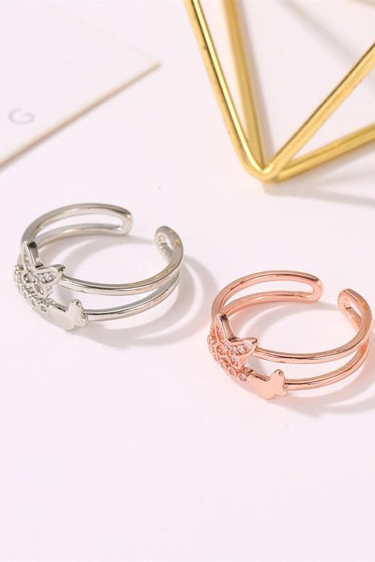 Cute rose gold butterfly ring trending feminine fashion jewelry - www.jewolite.com #rings