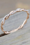 Cute Minimalist Dainty Twist Ring Rose Gold for Teen Girls for Women - www.Jewolite.com #rings