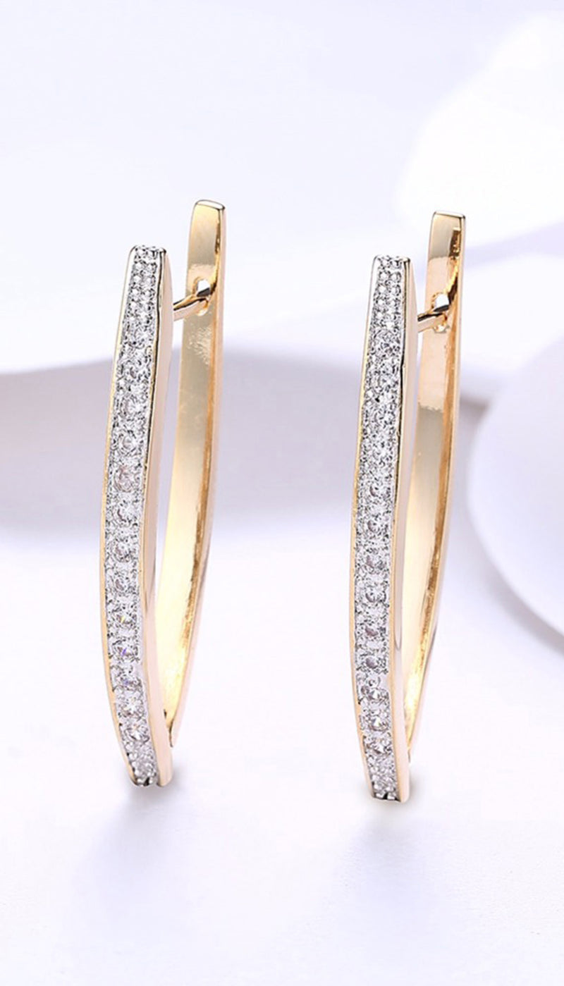Brandy Geometric V Shaped Crystal Gold Large Hoop Earrings