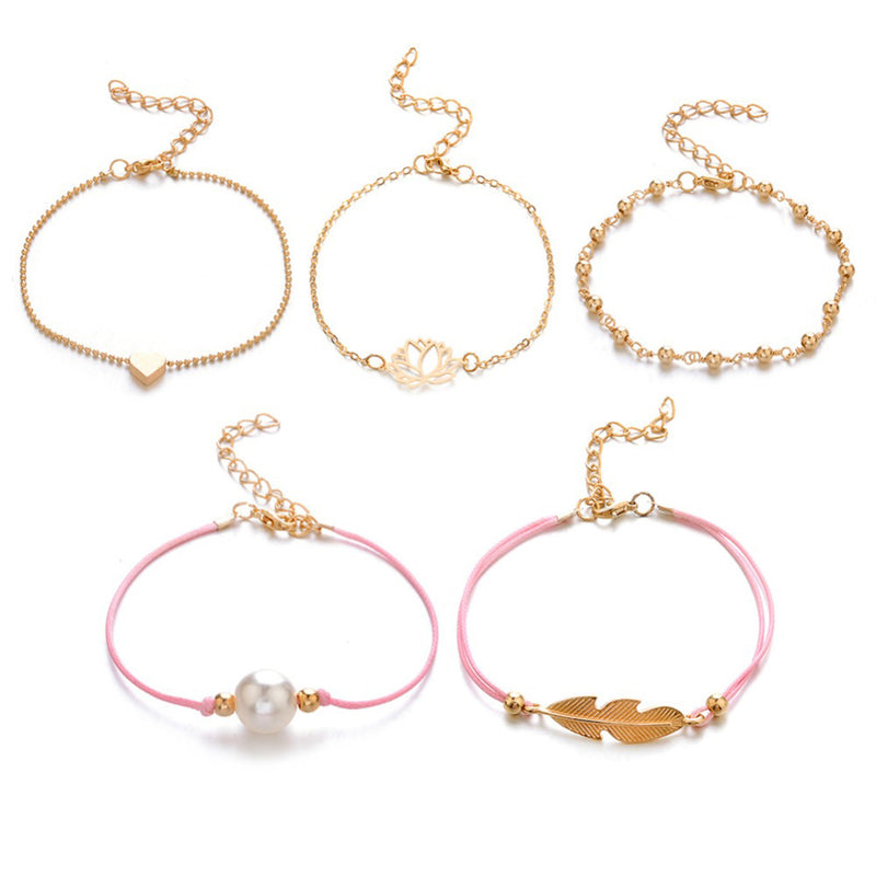 Cute Infinity Lotus Pearl Feather Heart Charm Stacked Beaded Pink Bracelet Set in Gold Statement Fashion Jewelry for Women for Teen Girls - www.Jewolite.com
