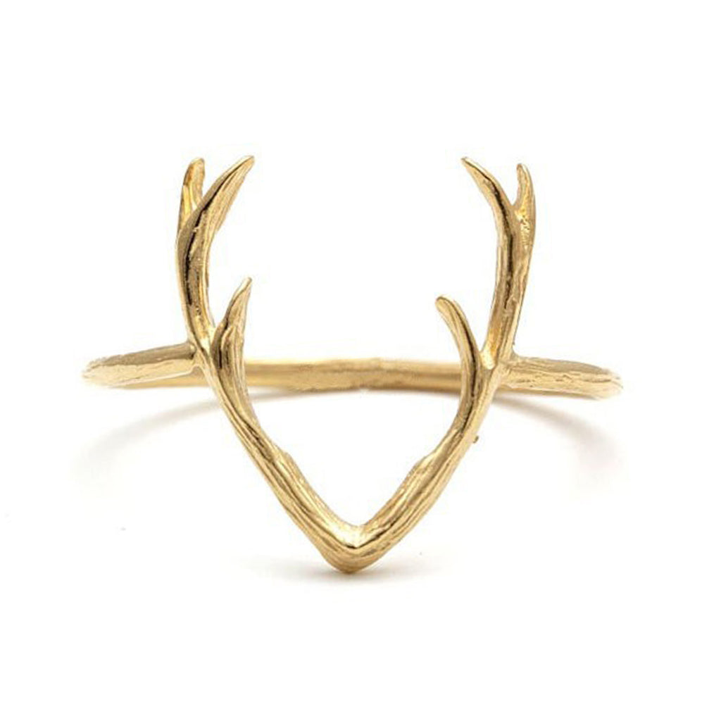Unique Deer Antlers Rings - Cool Silver Reindeer Horns Tree Nature Ring in Rose Gold or Silver - anillos únicos de astas de ciervos de plata - www.Jewolite.com #rings