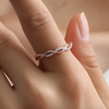Simple Dainty Everyday Ring Fashion Jewelry for Teens Women's Stackable Crystal Rose Gold Ring (www.Jewolite.com) #rings