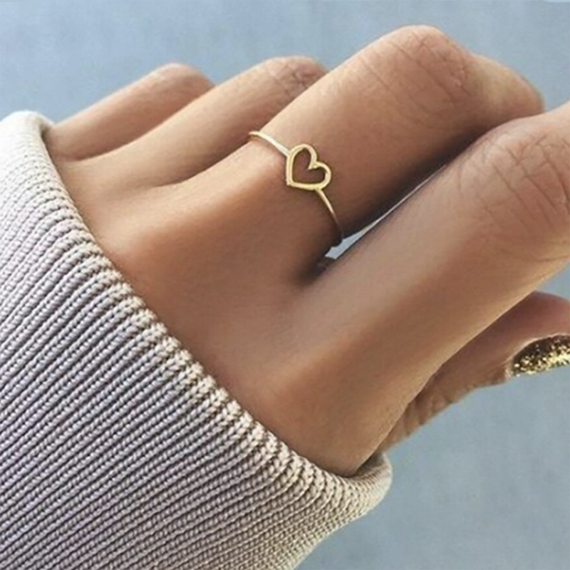Cute Dainty Simple Heart Outline Ring Fashion Jewelry Promise Rings for Women for Teen Girls -  lindo anillo de corazón para mujer - www.Jewolite.com #rings