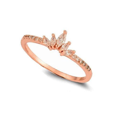 Tessa Dainty Simple Minimalist Crystal Cluster Promise Ring