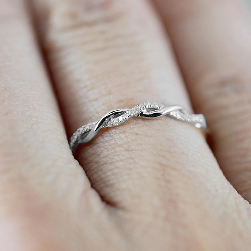 Cute Minimalist Dainty Silver Twist Ring with Crystals Promise Wedding Graduation Birthday Gift - www.Jewolite.com
