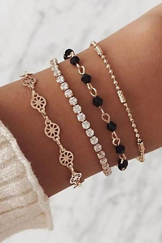 Cute Crystal Beaded Simple Heart Gold Chain Bracelet Set Fashion Jewelry for Women for Teens Girls - www.Jewolite.com