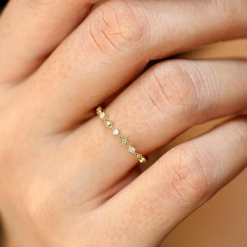 Cute Dainty Minimalist Simple Crystal Square Ring For Women For Teen Girls in Silver or Gold - www.Jewolite.com #bracelet