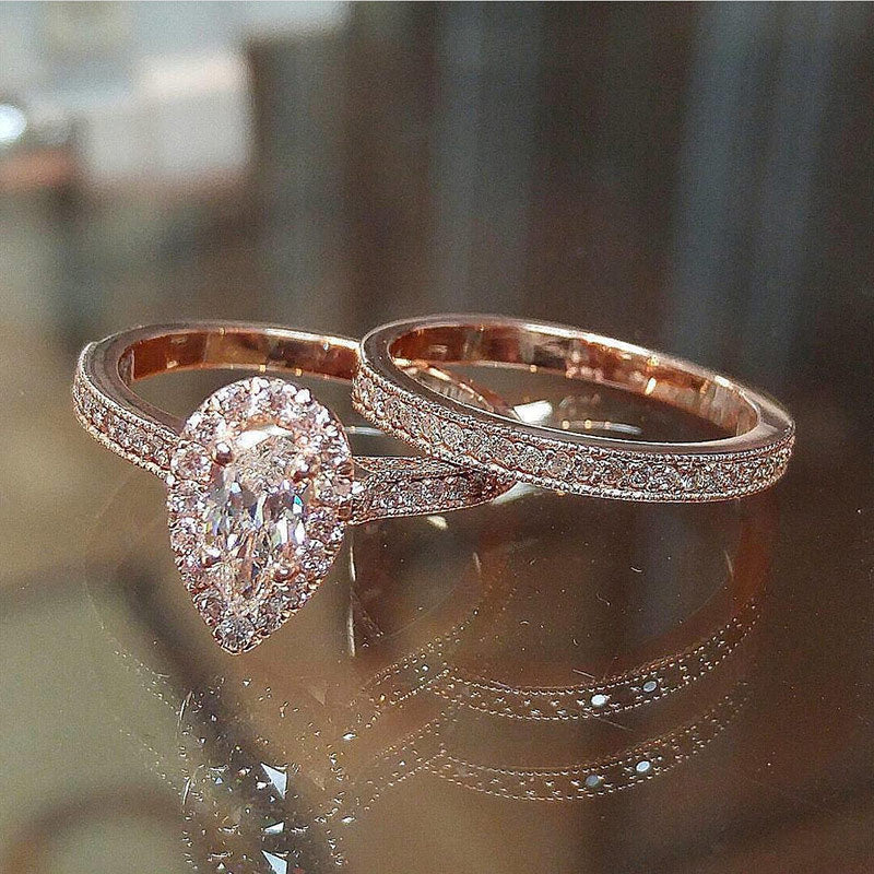 Beautiful Rose Gold Stackable Pear Shaped Halo Ring Band Engagement Wedding Promise Gift Rings - anillo en forma de pera - www.Jewolite.com #rings