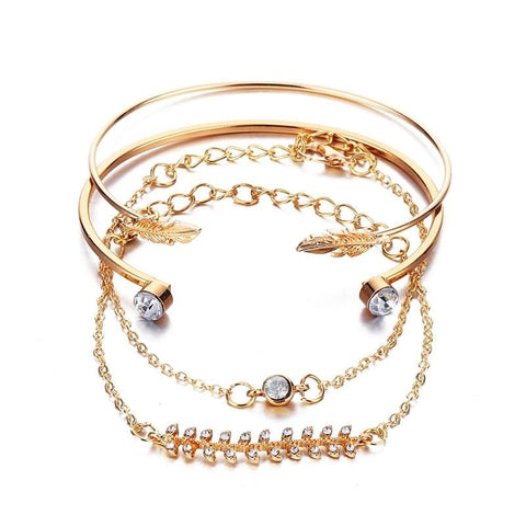 Ensley Cute Pink Boho Heart Lotus Rose Gold Chain Bracelet Set 5 Pieces