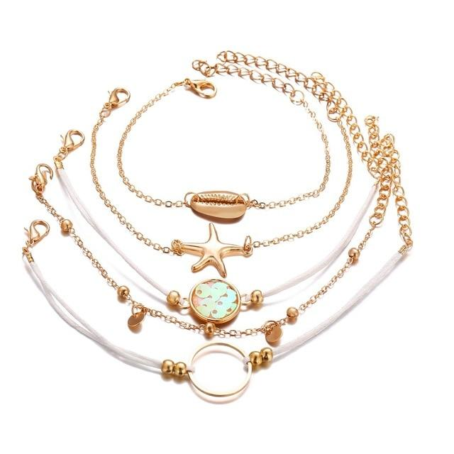 Cute Seashell Beach Gold Chain Bracelet Set Fashion Jewelry for Women for Teens Girls - www.Jewolite.com #bracelet #jewelry