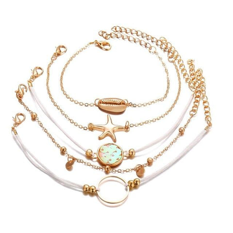 Clara Cute Gold Flamingo Watermelon Seashell Chain Blue Ribbon Bracelet Set