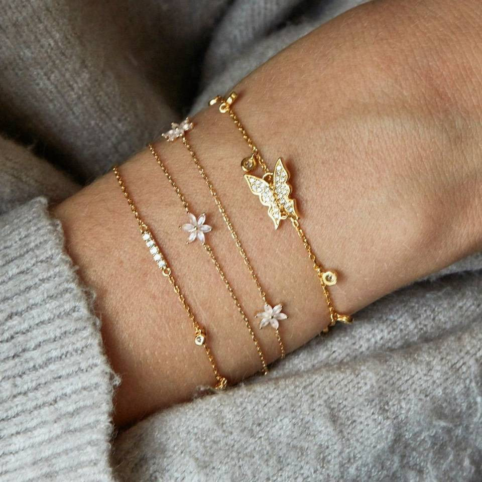 Cute Butterfly Flower Gold Chain Bracelet Set Fashion Jewelry for Women for Teens Girls - www.Jewolite.com #bracelet #jewelry
