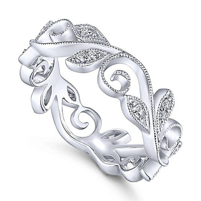 Cute Crystal Swirl Leaf Wedding Engagement Promise Graduation Christmas Present Gift for Women for Teen Girls -  anillo de remolino - www.Jewolite.com #rings