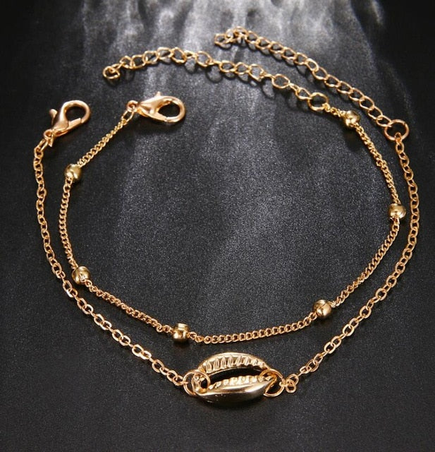 Cute Simple Summer Seashell Double Chain Bracelet Fashion Jewelry for Women for Teen Girls in Gold or Silver -  pulsera de concha de joyería de moda - www.Jewolite.com #bracelets