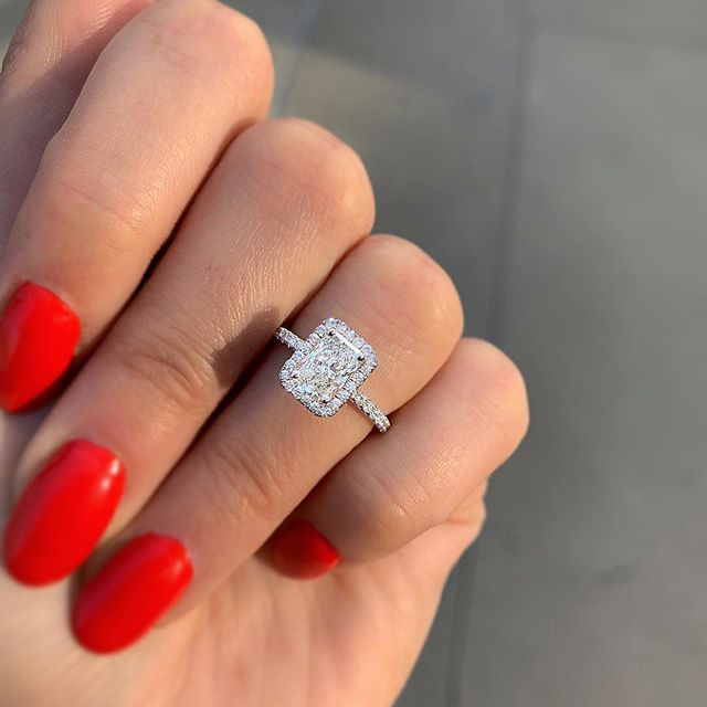 Cute Simple Rectangle Halo Ring Statement Fashion Jewelry Engagement Wedding Promise Graduation Gift Ideas - www.Jewolite.com #rings
