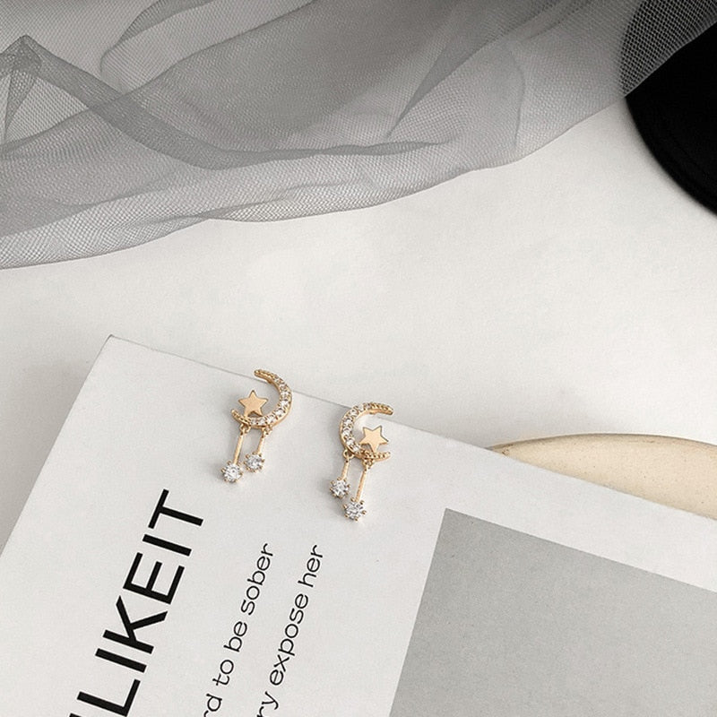 Cute Small Heart Moon Gold Dangle Earring Studs Fashion Jewelry for Women - www.Jewolite.com  Edit alt text