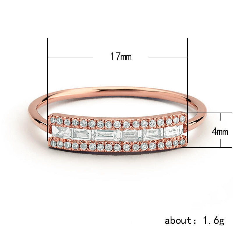 Fantasia Unique Crystal Rectangle Square Fashion Rose Gold Ring