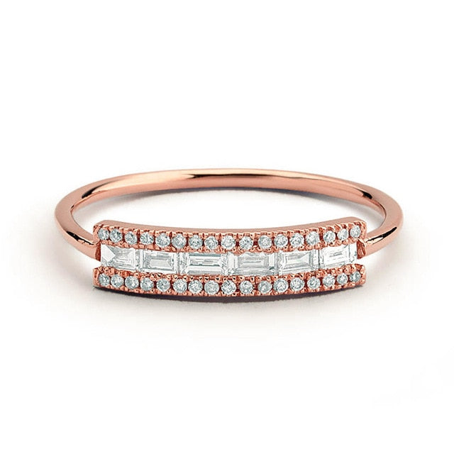 Cute Trending Dainty Gemstone Crystal Rose Gold Ring Fashion Jewelry for Women - lindos anillos de cristal - www.Jewolite.com #rings