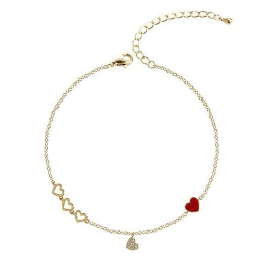 Cute Dainty Heart Gold Chain Charm Bracelet for Women - www.Jewolite.com #bracelets
