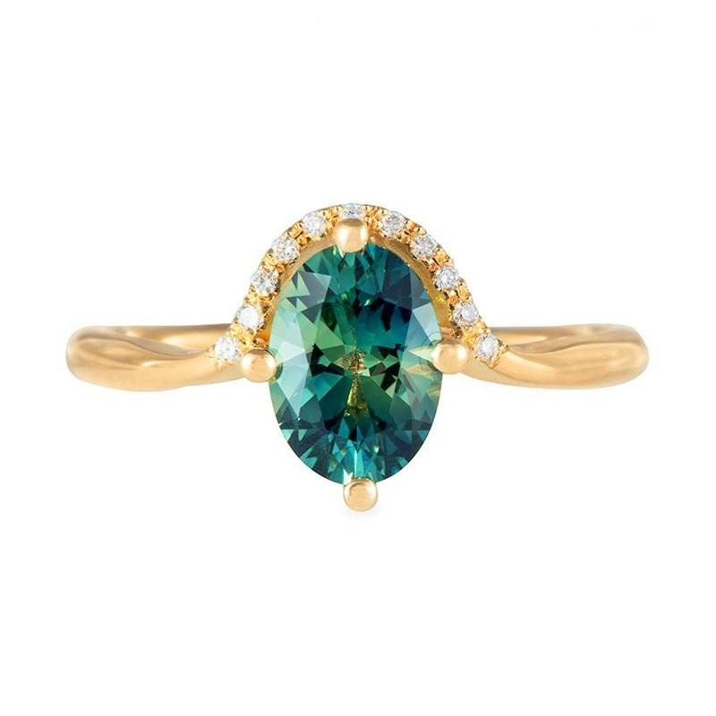 Cute Green Emerald Crystal Halo Halo Gold Ring Fashion Jewelry for Women - www.Jewolite.com #rings