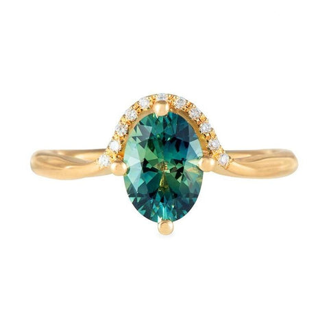 Patty Luxury Created Deep Emerald Green Crystal Cushion Cut Rectangle Halo Ring