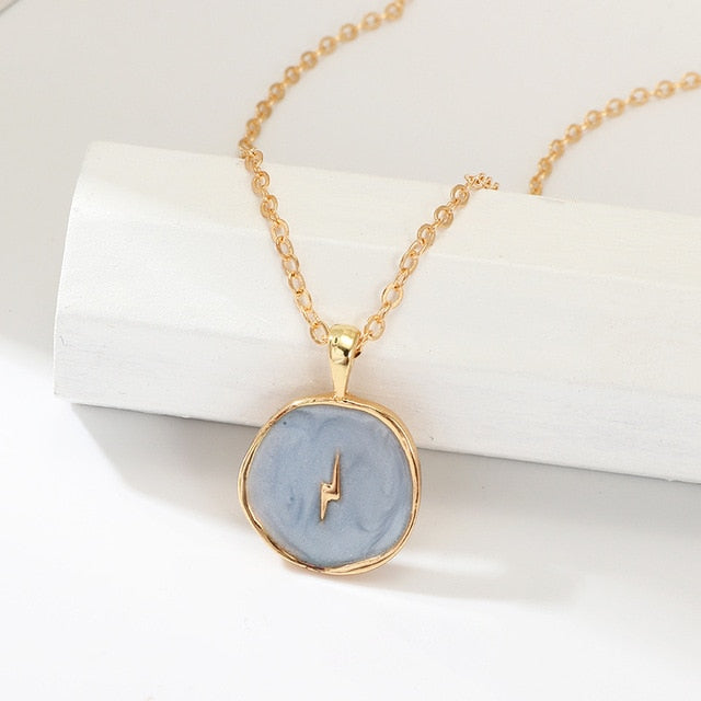 Trending Cute Coin Enamel Choker Necklace Gold Chain Moon- www.Jewolite.com #necklaces  Edit alt text