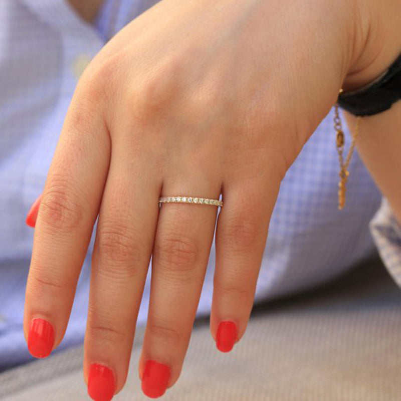 cute simple crystal thin stackable ring in silver or gold - lindos anillos simples - www.Jewolite.com  Edit alt text