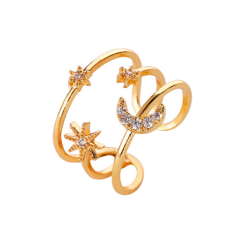 Avelina Cute Crystal Moon Star Gold Dangle Earring Studs