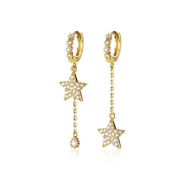 Pretty Crystal Star Chain Dangle Huggie Hoop Earrings Fashion Jewelry - www.Jewolite.com #earrings