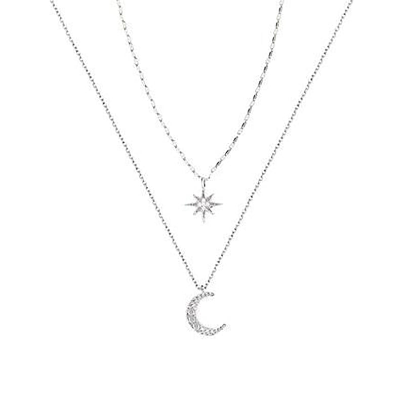 Pretty Moon Star Double Layered Silver Chain Choker Necklace - www.Jewolite.com