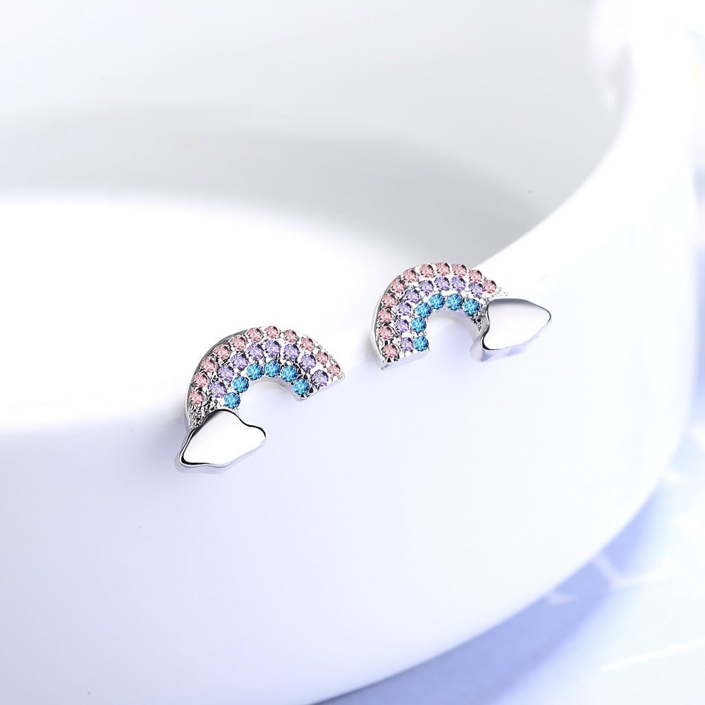Cute Crystal Pave Rainbow Stud Earrings for Women for Teen Girls - www.Jewolite.com #earrings